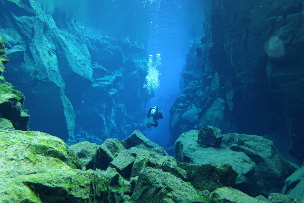 Diving in Silfra, Iceland. Water temperature 2 degrees celcius - visibility 120 meters.. the clearest water in the world! On march 25th 2016.